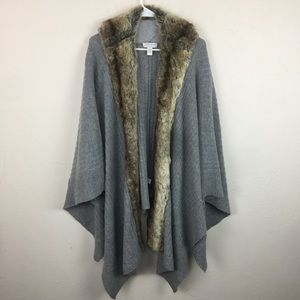Nordstrom Collection Gray Wool Faux Fur Shrug OS